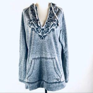 Roxy gray embroidered sweatshirt hoodie